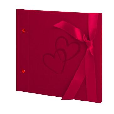 Hochzeitsalbum mit Herzen in Rot klein und erweiterbar