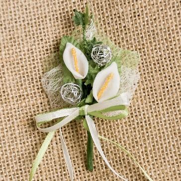 Hochzeitsanstecker Calla, silber-weiß