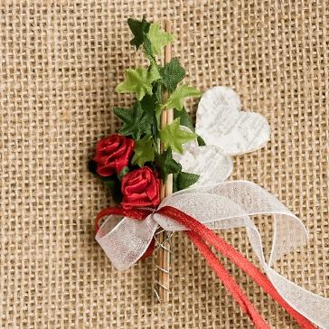 Hochzeitsanstecker Doppelherz, weinrot-weiß