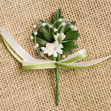 """Hochzeitsanstecker """"Margerite"""", creme-grün"""