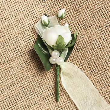 Hochzeitsanstecker Rosen, champagner