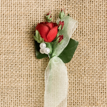 Hochzeitsanstecker Rosen, rot