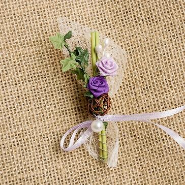 Hochzeitsanstecker Rosen und Efeu, flieder