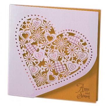 """Einladungskarte zur Hochzeit """"Alessa"""" in gold"""