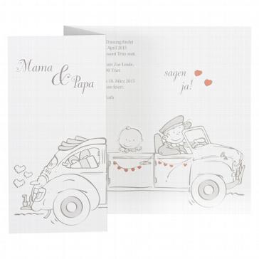 Hochzeitseinladung Alicia - weiße Hochzeitseinladung mit Auto