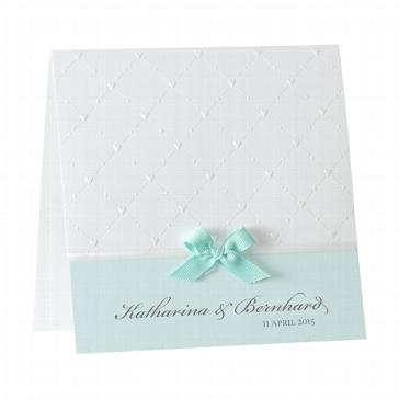 """Hochzeitseinladung """"Beverly"""", mint- weiß mintfarbene Hochzeitseinladung mit mintfarbener Schleife"""
