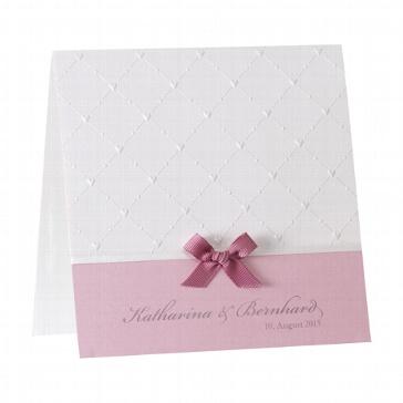Hochzeitseinladung Beverly, rosa - weiß rosa Einladungskarte mit rosa Schleife