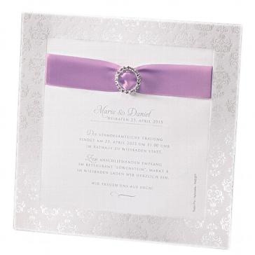 """Einladungskarte zur Hochzeit """"Caroline"""" in flieder"""