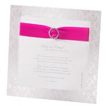 """Einladung zur Hochzeit """"Caroline"""" in fuchsia"""