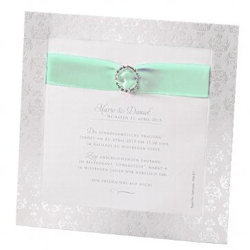 """Einladung zur Hochzeit """"Caroline"""" in mint"""