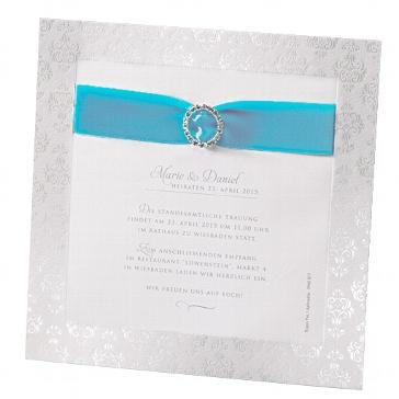 """Einladung zur Hochzeit """"Caroline"""" in türkis"""