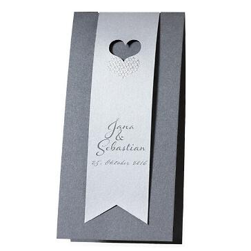 Einladungskarte Elena - in Silber