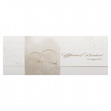Hochzeitseinladung Ellen - cremefarbene Hochzeitseinladung mit Ringen