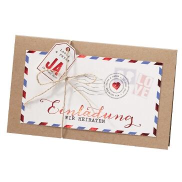 Einladung zur Hochzeit Kim im Luftpost-Design
