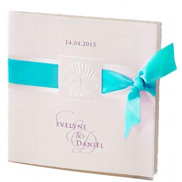 """Einladungskarte zur Hochzeit """"Lely"""" in türkis"""