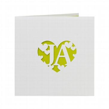 Hochzeitseinladung Lori - weiße Hochzeitseinladung mit grüner Innenkarte