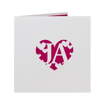 Hochzeitseinladung in Weiß mit Herzmotiv in Fuchsia