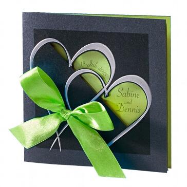 """Einladungskarte zur Hochzeit """"Martina"""" in grün"""
