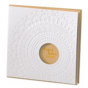Einladungskarte zur Hochzeit Nelly in gold