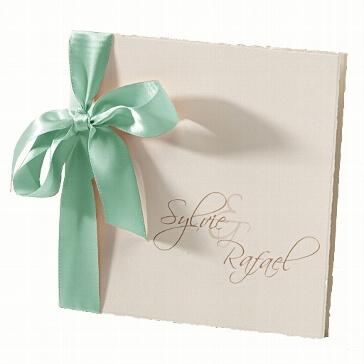 Hochzeitseinladung Sylvie mit Satinschleife in mint