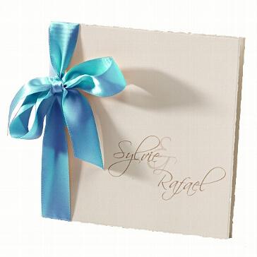 """Hochzeitseinladung """"Sylvie"""" mit türkiser Satinschleife"""