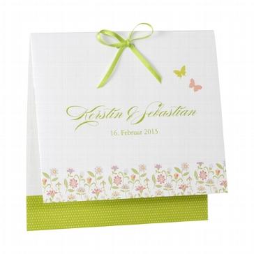 """Hochzeitseinladung """"Tara"""" - weiß grüne Hochzeitseinladung mit grüner Schleife und bunten Blumen"""