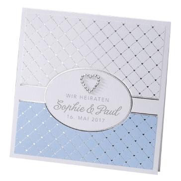 """Hochzeitseinladung """"Zora"""" in Eisblau"""
