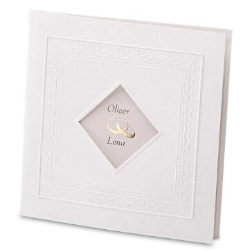 """Weiße Einladungskarte zur Hochzeit """"Marie"""""""