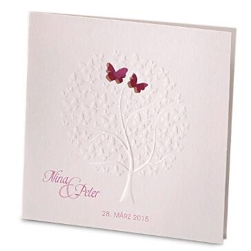 Hochzeitseinladung mit Schmetterlings Motiv