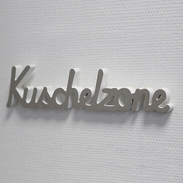 Geschenkidee Holzschriftzug Kuschelzone