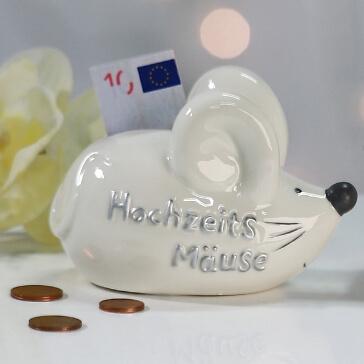 Geldgeschenk Spardose Hochzeitsmaus, klein