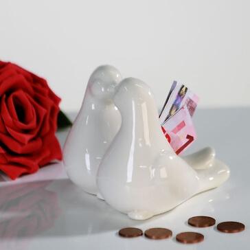 Spardose Taubenpaar für Geldgeschenke an das Brautpaar