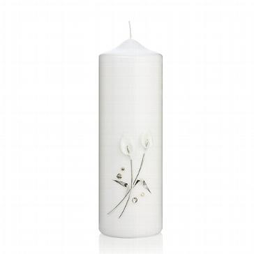 Kerze mit silbernen Callablumen und Silbersteinen zur Trauung