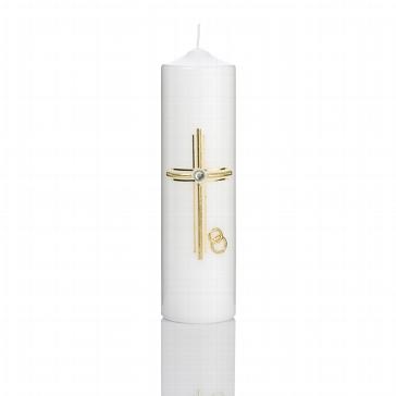 Hochzeitskerze mit goldenem Kreuz für Ihre Trauung