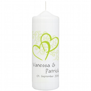 Hochzeitskerze Herzen, personalisiert, grün
