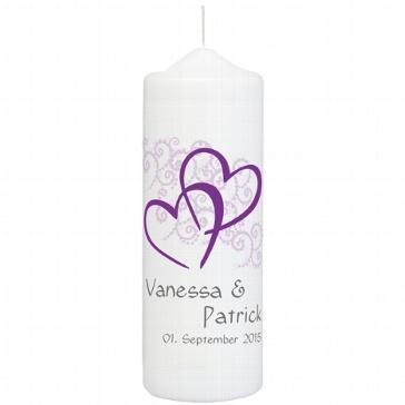 Hochzeitskerze Herzen, personalisiert, lila