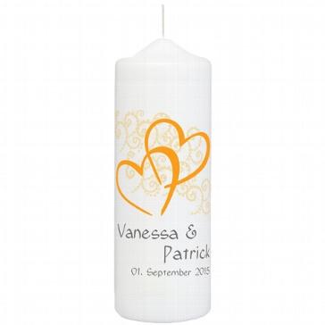 Hochzeitskerze Herzen, personalisiert, orange