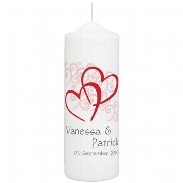 Hochzeitskerze Herzen, personalisiert, rot
