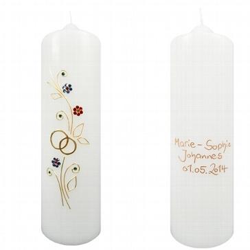 """Hochzeitskerze """"Kristall-Blumen"""" personalisiert"""