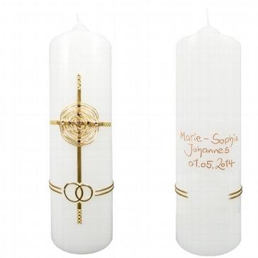 Hochzeitskerze Kristall-Kreuz personalisiert