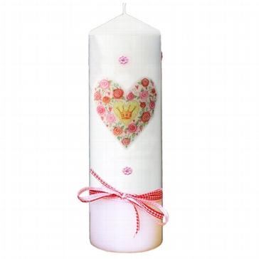 Kerze mit Rosenherz zur Trauung