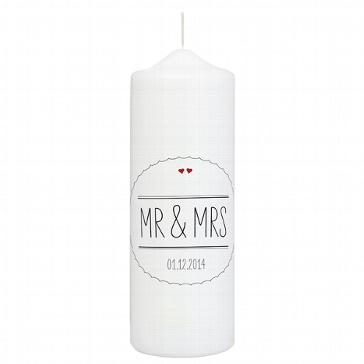 Hochzeitskerze Mr & Mrs, schwarz, personalisiert