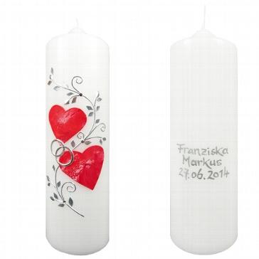 Hochzeitskerze Rote Herzen personalisiert