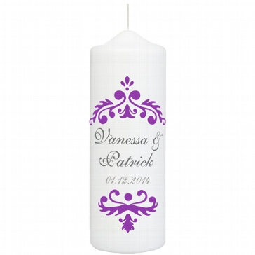 Hochzeitskerze Vintage Dekor, personalisiert, lila