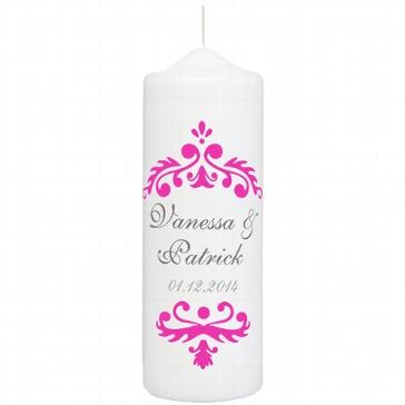 Hochzeitskerze Vintage Dekor, personalisiert, pink