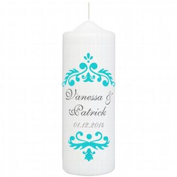 Hochzeitskerze Vintage Dekor, personalisiert, türkis