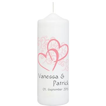 "Hochzeitskerze ""Herzen"", personalisiert, rosa"