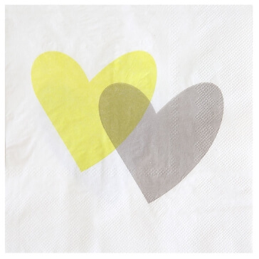Hochzeitsserviette Love Love, grün, 20 St. - hübsche Servietten zur Hochzeit