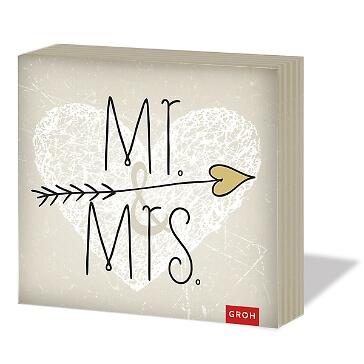 """Hochzeitsservietten """"Mr. & Mrs."""", 20 St."""