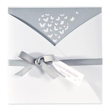 Hochzeitskarte Jelena in Grau-Weiß